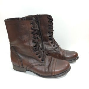 Steve Madden Brown Leather Combat Ankle Boots 8 M